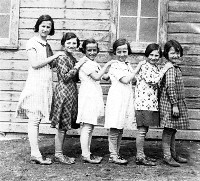 Girls at school - Leta 2nd from left and Fern 2nd from right